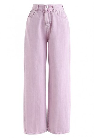 Wide-Leg Cropped Jeans in Taffy Pink - NEW ARRIVALS - Retro, Indie and Unique Fashion