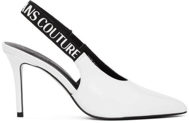 White Patent Slingback Heels
