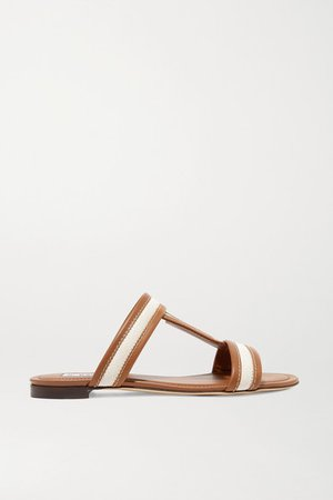 Canvas And Leather Slides - Tan