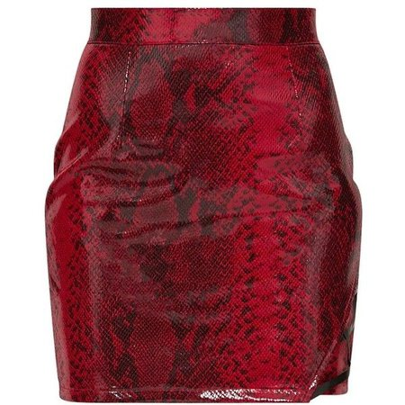 Red Snakeskin PU Lace Up Side Mini Skirt