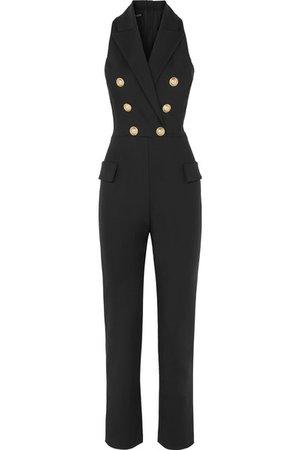 Balmain | Button-embellished wool-blend jumpsuit | NET-A-PORTER.COM