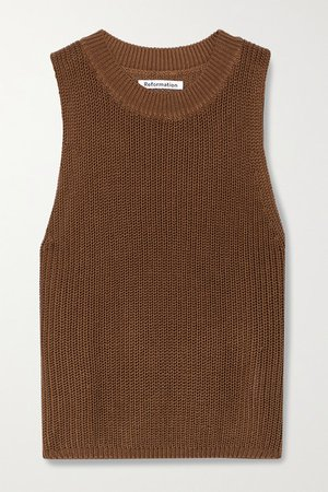 Ribbed Tencel Lyocell And Linen-blend Tank - Brown