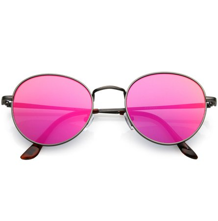 Retro Slim Metal Frame Mirrored Flat Lens Round Sunglasses - zeroUV