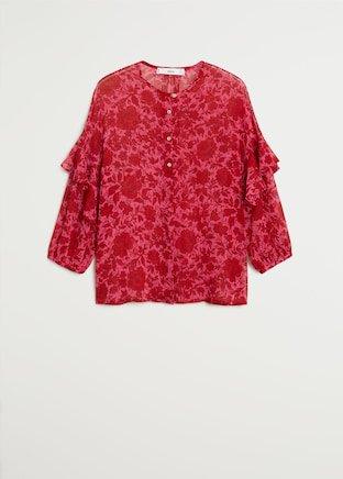 Floral print blouse - Women   Mango USA pink