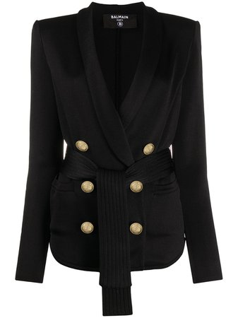 Balmain Double-Breasted Belted Blazer Ss20 | Farfetch.com