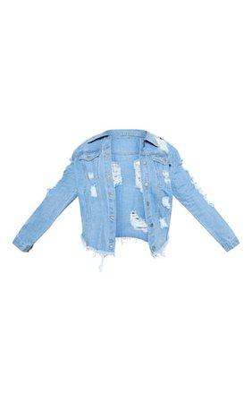 Plus Light Wash Distress Oversized Denim Jacket   PrettyLittleThing