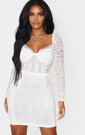 Shape White Lace Mesh Stripe Long Sleeve Dress   PrettyLittleThing