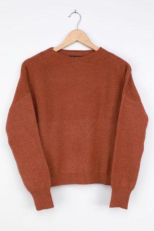 Cute Rust Red Sweater - Mock Neck Sweater - Knit Sweater - Lulus