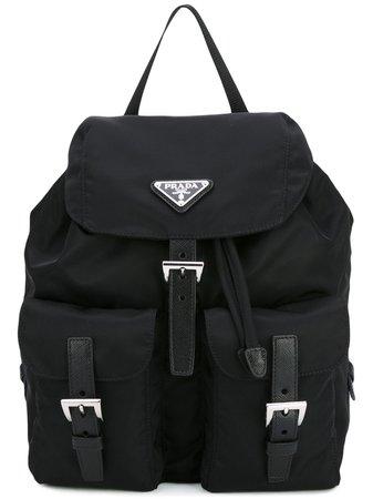 Prada Logo Plaque Nylon Backpack - Farfetch