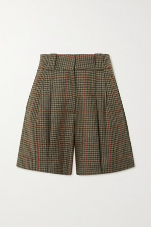 Drum Beat Fell Checked Wool Shorts - Army green