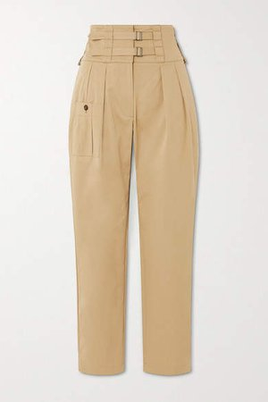 Buckled Cotton-blend Twill Tapered Pants - Beige