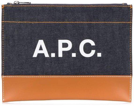 zipped logo clutch bag