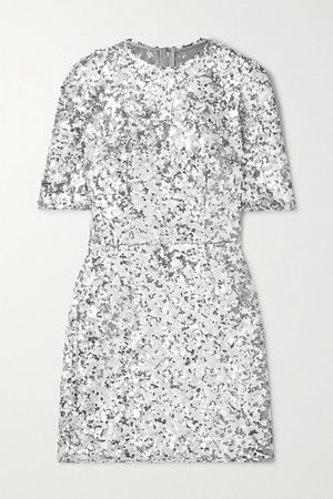 Sequined Stretch-tulle Mini Dress - Silver