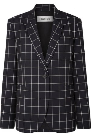 Monse | Lace-up checked wool-crepe blazer | NET-A-PORTER.COM