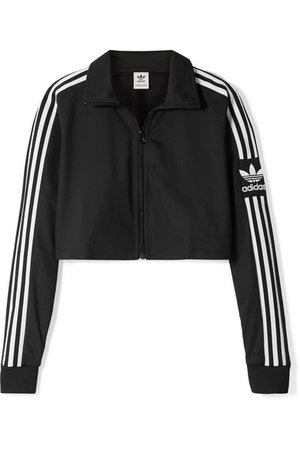 adidas Originals | Cropped striped tech-jersey track jacket | NET-A-PORTER.COM
