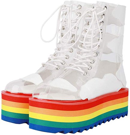 Amazon.com   Themost Platform Boots for Women Rainbow Platforms Sneakers Clear Lace Up Ankle Boot Colorful Waterproof Shoes   Ankle & Bootie