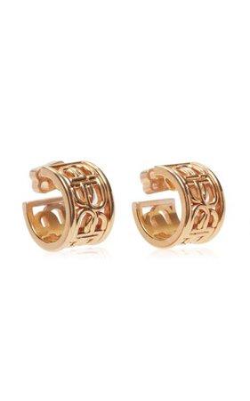 Bb Gold-Plated Hoop Earrings By Balenciaga | Moda Operandi