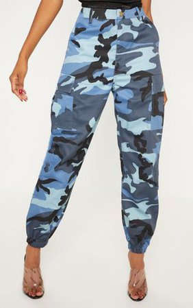Blue Camo Pocket Cargo Trousers   Trousers   PrettyLittleThing