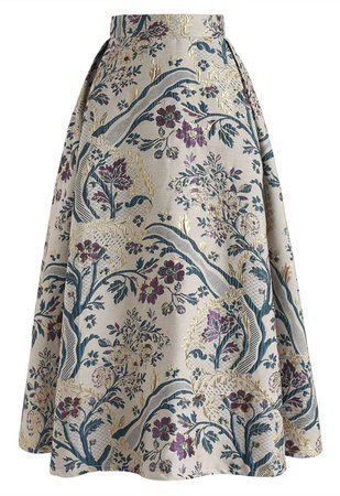 Vintage Bouquet Embroidered Midi Skirt - Retro, Indie and Unique Fashion