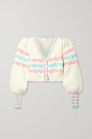 Buena Cropped Intarsia Cotton-blend Cardigan - Cream