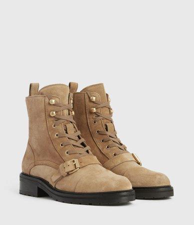 ALLSAINTS US: Womens Donita Suede Boots (dark_sand)
