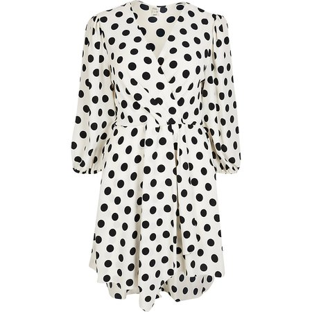 White Polka Dot mini wrap dress | River Island
