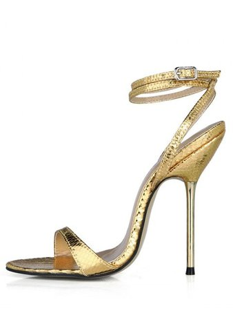 [42% OFF] 2019 Stiletto Heel Snake Pattern Ankle Wrap Sandals In GOLD | ZAFUL ..