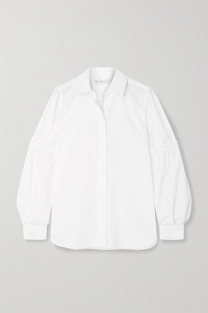 Roseto Ruffled Cotton-poplin Shirt - White