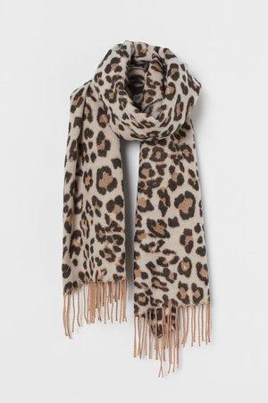 Scarf with Fringe - Light beige/leopard print - Ladies | H&M US