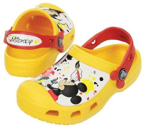 crocs clogs, Crocs Creative Mickey Paint Splatter One Clogs Yellow Kids´ shoes,crocs wedges, infant crocs UK store