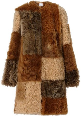 Patchwork Shearling Coat