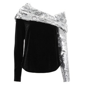 Monse One-Shoulder Sequined Crepe And Velvet Top In Black