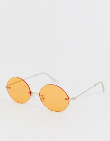 ASOS DESIGN rimless oval sunglasses in gold with orange lens   ASOS