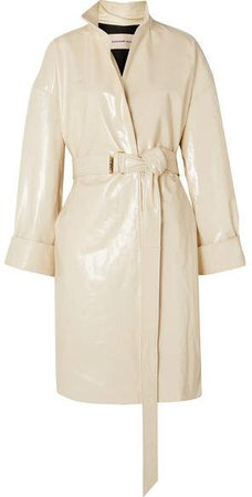 Oversized Belted Patent-leather Trench Coat - Ivory