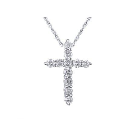 "Brilliance - Brilliance Fine Jewelry 14K White Gold Classic Diamond Cross Pendant Necklace with 18"" Rope Chain - Walmart.com - Walmart.com"