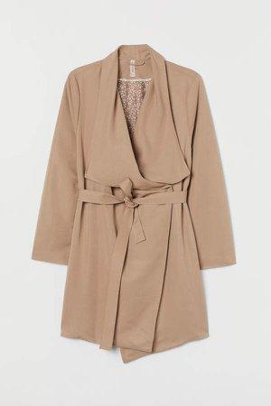 H&M+ Coat with Draped Lapels - Beige