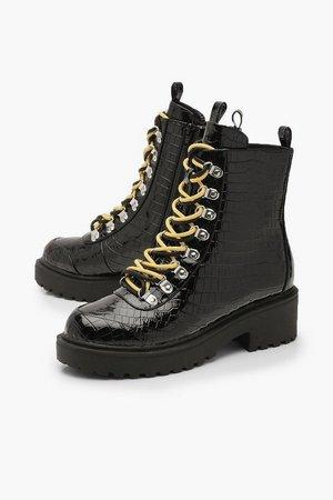 Croc Double Lace Chunky Hiker Boots   Boohoo