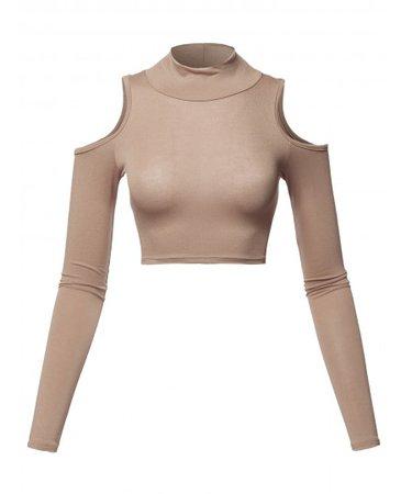 Women's Junior Fit Cut Sexy Plain Turtle Neck Open Shoulder Long Sleeve Crop Top - FashionOutfit.com