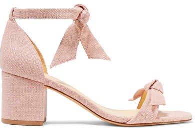 Clarita Bow-embellished Linen Sandals - Pastel pink