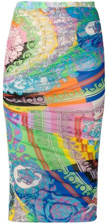 mixed print pencil skirt