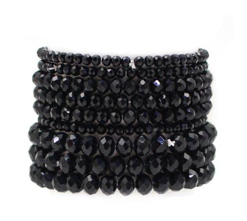 black bead bracelet set