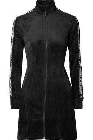 Opening Ceremony Plush Velour Logo Long-Sleeve Track Dress In Black | ModeSens