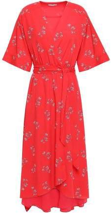 Daymon B Floral-print Crepe De Chine Midi Wrap Dress