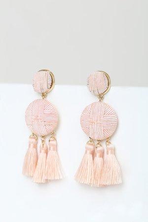 Boho Blush Earrings - Tassel Earrings - Statement Earrings