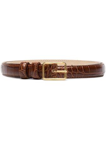 Black & Brown Lydia crocodile-effect leather belt - FARFETCH