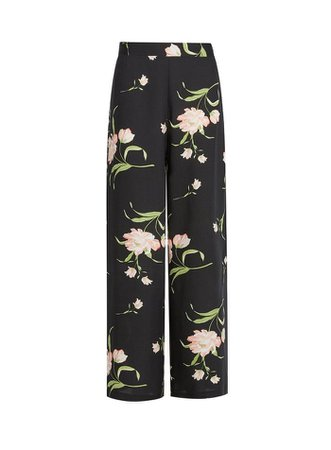 Black Floral Print Palazzo Trousers | Dorothy Perkins
