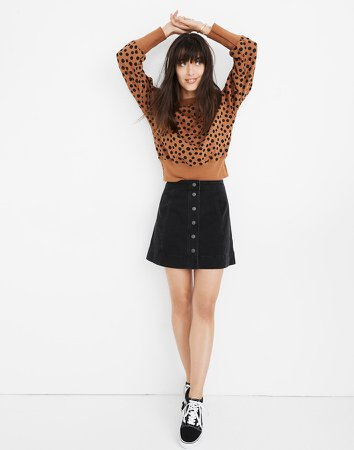 Metropolis Snap Jean Skirt in Rawley Black