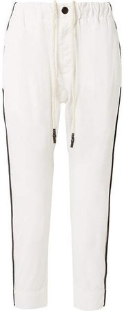 Striped Cotton-canvas Pants - White