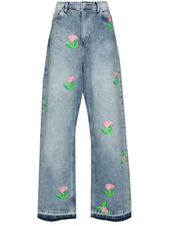 Natasha Zinko rose-print wide-leg Jeans - Farfetch