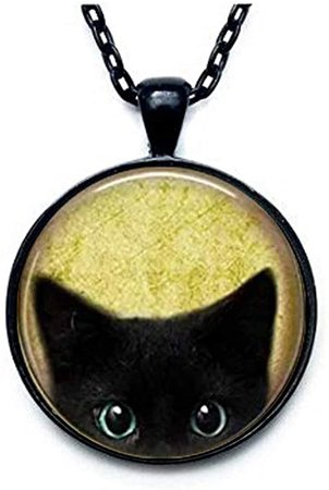 Amazon.com: Black Cat Necklace - Peeking Black Cat Pendant - Cute Black Cat Jewelry: Clothing
